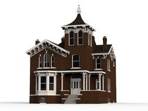 Old house in Victorian style. Illustration on white background. Species from different sides. 3d rendering. Old house in Victorian style. Illustration on white Stock Photography