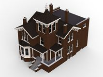 Old house in Victorian style. Illustration on white background. Species from different sides. 3d rendering. Old house in Victorian style. Illustration on white Stock Photo