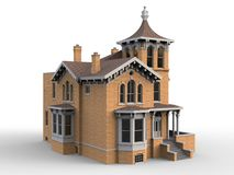 Old house in Victorian style. Illustration on white background. Species from different sides. 3d rendering. Old house in Victorian style. Illustration on white Royalty Free Stock Photography