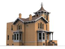 Old house in Victorian style. Illustration on white background. Species from different sides. 3d rendering. Old house in Victorian style. Illustration on white Royalty Free Stock Images