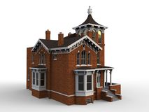 Old house in Victorian style. Illustration on white background. Species from different sides. 3d rendering. Old house in Victorian style. Illustration on white Stock Image