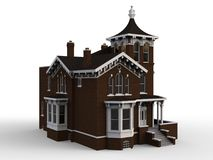 Old house in Victorian style. Illustration on white background. Species from different sides. 3d rendering. Old house in Victorian style. Illustration on white Stock Photos