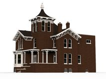 Old house in Victorian style. Illustration on white background. Species from different sides. 3d rendering. Old house in Victorian style. Illustration on white Royalty Free Stock Photos