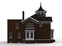 Old house in Victorian style. Illustration on white background. Species from different sides. 3d rendering. Old house in Victorian style. Illustration on white Royalty Free Stock Image