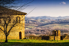 Old house with view of the hills Royalty Free Stock Images
