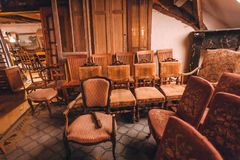 Old house with vintage armchairs, decoration, wooden furniture royalty free stock image