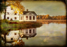 Old house at the water. Painted, texture conceptual image Royalty Free Stock Images