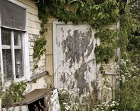 Old house window door green leaves garden. Old house window village garden door textured close-up day summer Stock Images