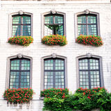 An old house with  windows with a flowerpots Stock Photo