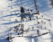 Old house in winter mountain landscape Royalty Free Stock Image