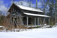 Old House in the Winter Snow Stock Photography