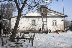 Old house and winter weather. Ukraine Stock Photos