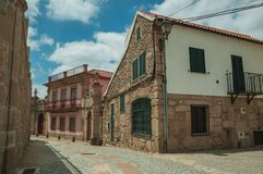 Free Old House With Stone Wall On Deserted Alley Stock Photography - 146755382