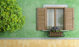 Old House With Tree And Flower Pot Royalty Free Stock Photo