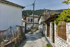 Old house and Wood centuries in village of Panagia, Thassos island,  Greece Stock Photos