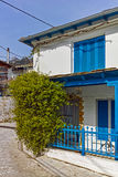 Old house and Wood centuries in village of Panagia, Thassos island, Greece Stock Image