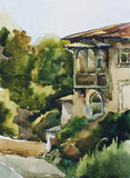 Old house in Yalta watercolor. Old house with a bolcony in Yalta watercolor painting Royalty Free Stock Images