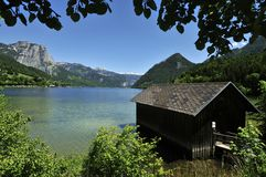 Old Houseboat on Grundlsee Royalty Free Stock Photos
