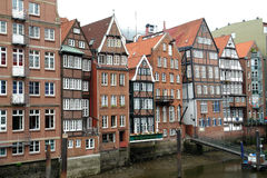 Old houses. Historic houses at canal in Hambug city, Germany royalty free stock image