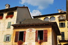 Old houses. Ancient houses on the lake in Orta St. Giulio, Piedmont, Italy Stock Photography