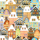 Old houses. Winter old houses seamless pattern Stock Image