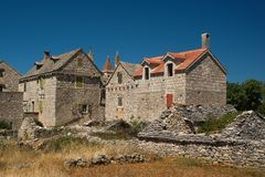 Old houses. Old stone houses on the island of Solta, Croatia stock image