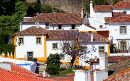 Old Houses. Lovely old red-tiled houses with chimneys in the ancient medieval town of Obidos in Portugal royalty free stock images