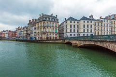 Old Houses along Nive River, Bayonne Royalty Free Stock Photography