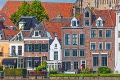 Old houses alongside the river IJssel in Deventer, The Netherlan Stock Photo