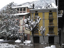 Old houses in Andorra la Vella, the capital of Andorra Royalty Free Stock Photo