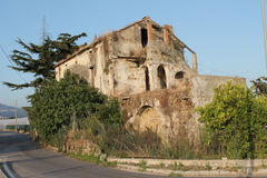 Old houses. Architecture of old country house now abandoned that retains a certain charm of antiquity stock photo
