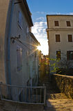 Old houses at backstreets of Piran, small coastal town in Istria Stock Photo