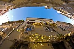 Old houses at backstreets of Piran, small coastal town in Istria Royalty Free Stock Photos