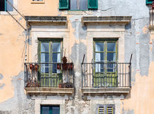 Old Houses with balcony at Syracuse, Sicily Royalty Free Stock Images