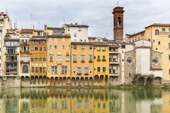 Old houses on the banks of the river Arno in Florence Stock Photography