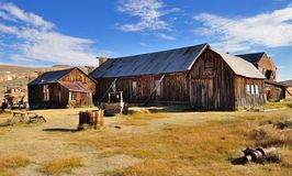 Old houses and barn in Bodie. State Historic Park. Bodie is a vey well preserved ghost town in California, USA Royalty Free Stock Image