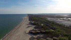 Old houses on beach in Odessa Bay stock video