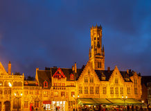 Old houses with Belfort tower, Bruges Stock Image