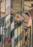 Old houses with blinds in the center of Arezzo Royalty Free Stock Images