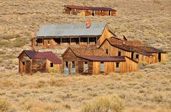 Old houses in Bodie State Historic Park. Old houses and buildings in Bodie State Historic Park. Bodie is a vey well preserved ghost town in California, USA Royalty Free Stock Photos