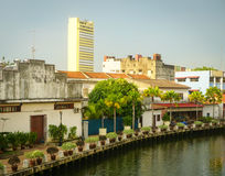 Old houses with canal at Chinatown in Melaka, Malaysia Stock Photo