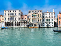 Old houses by Canal Grande in Venice Stock Photos