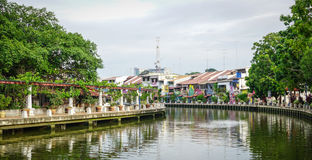Old houses with canal in Malacca, Malaysia Stock Image