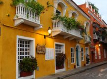 Old houses in Cartagena in Colombia royalty free stock image