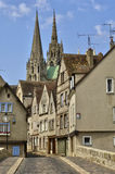 Old houses and the cathedral in Chartres Royalty Free Stock Images