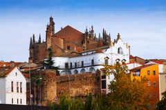 Old houses and Cathedral of Plasencia Royalty Free Stock Photography