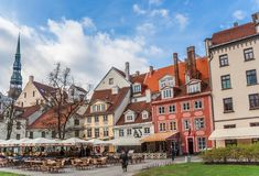 Old houses on the central square in Riga. Latvia stock photography