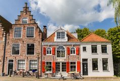 Old houses at the cheese market sqaure in Edam. Netherlands royalty free stock image