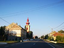 Old houses and church. Beautiful houses and church from a village in east europe royalty free stock images