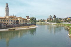 Old houses and church of San Giorgio in braida in Verona, Italy Stock Photography